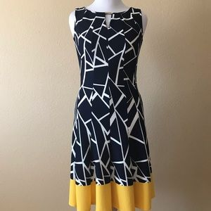 Haani Navy and White Fit and Flare Dress